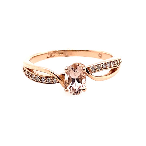 14kt Rose Gold Morganite And Diamond Ring
