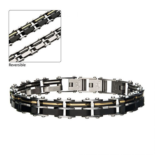 Stainless Steel Black/Gold Line Reversible Bracelet