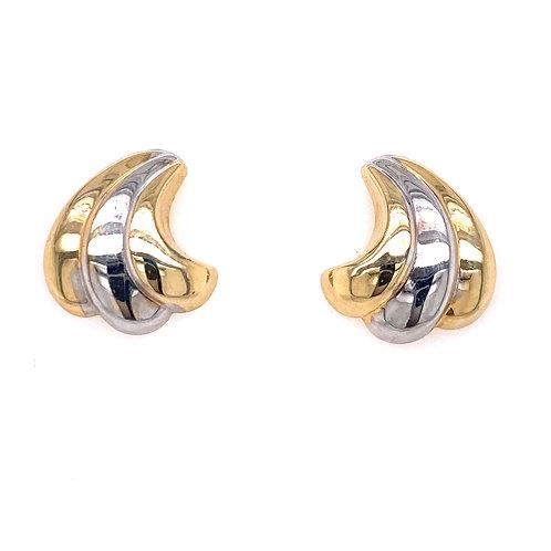 Estate 14kt Two Toned Gold Swirl Earrings