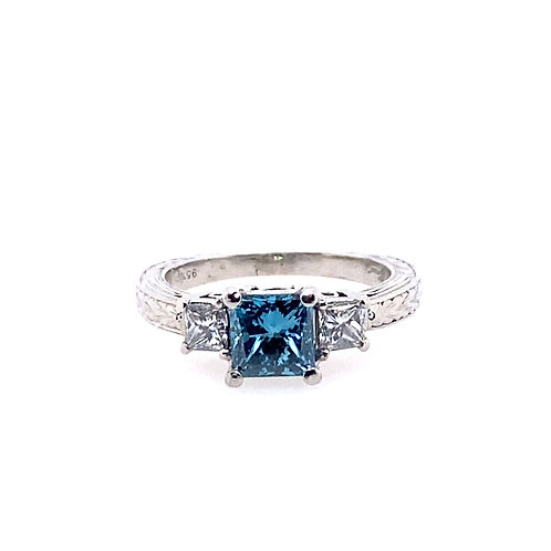 Estate Platinum Treated Blue Diamond Engagement ring