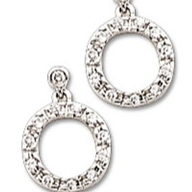 Sterling Silver Cubic Zirconia Circle Dangle Earrings