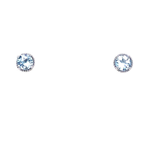 14kt White Gold Aquamarine Milgrain Halo Earrings