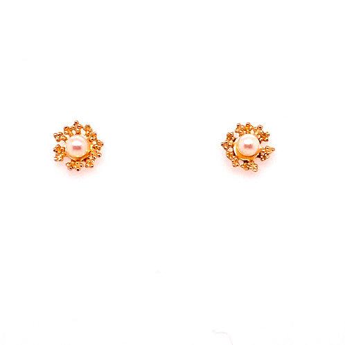 Estate 14kt Yellow Gold Pearl Flower Stud Earrings