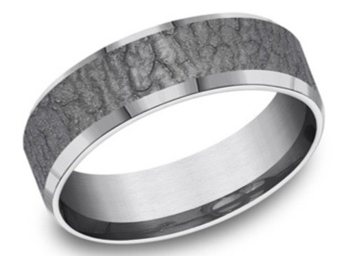 Titanium Lava Rock Finish Men's Wedding Band
