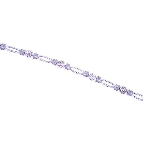 Sterling Silver Diamond Cluster Section Bracelet