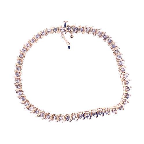 Estate 14kt Yellow Gold Diamond Tennis Bracelet