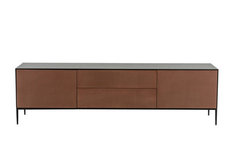 Drawer fronts coated in Woven Bronze.