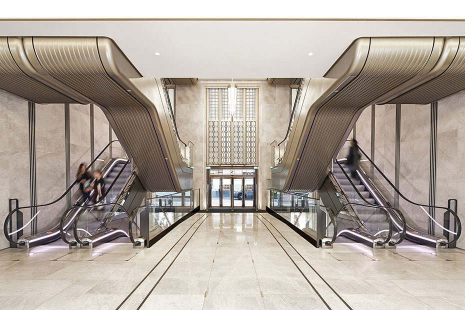 Escalators in Harrods UK which have been coated in Metalier Champagne Gold