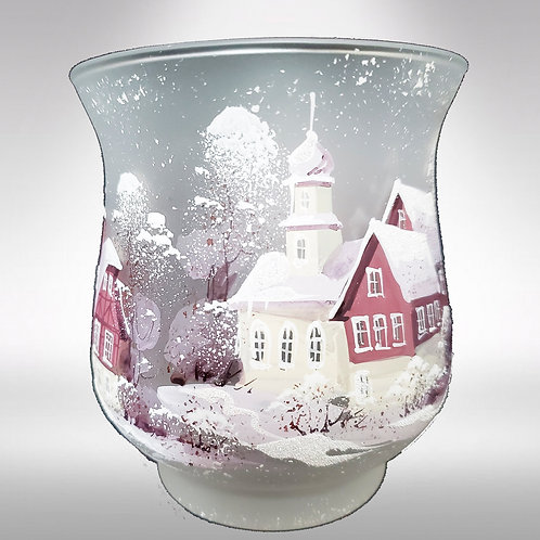 White Winter Country scene Votive