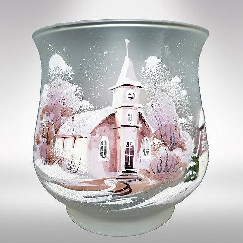 Vase Votive White Winter with Sleigh Ride
