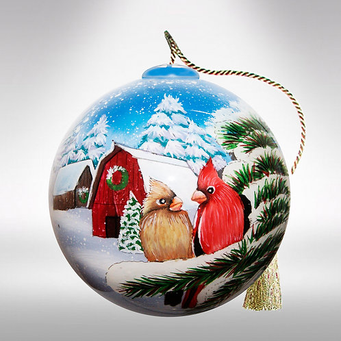 Cardinals in the Snow Ornament