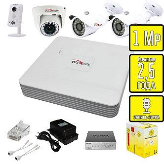 Комплект видеонаблюдения HD IP внут. и ул. камеры со звуком Polyvision 1 Мп