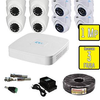 Комплект видеонаблюдения HD TVI внутренние и уличные камеры RVi 1 Мп