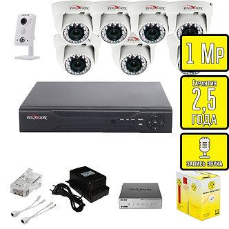 Комплект видеонаблюдения HD IP внутренние камеры со звуком Polyvision 1 Мп