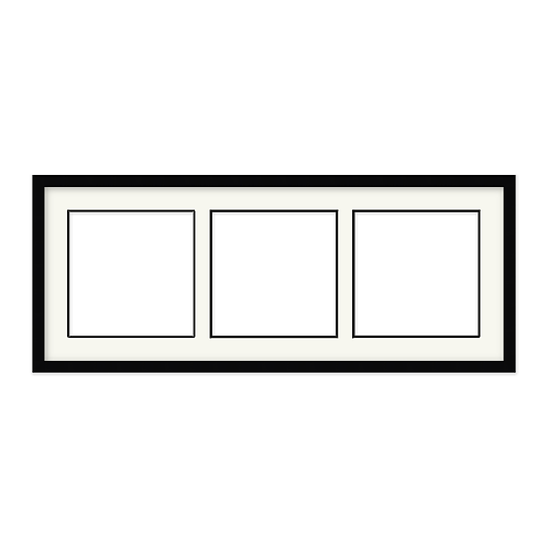 Black frame with three apertures