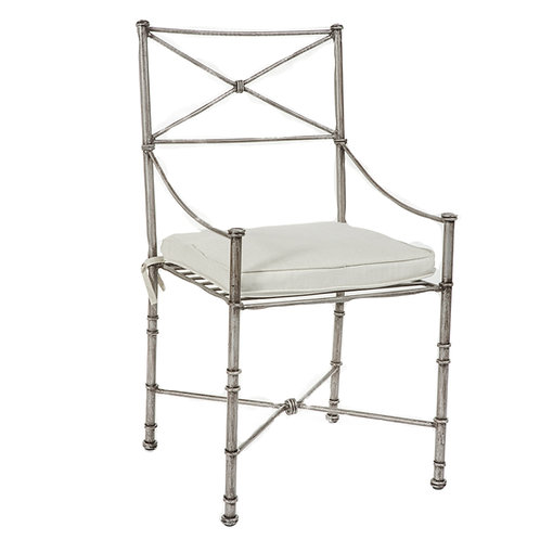Silver Metal Outdoor Dining Chair