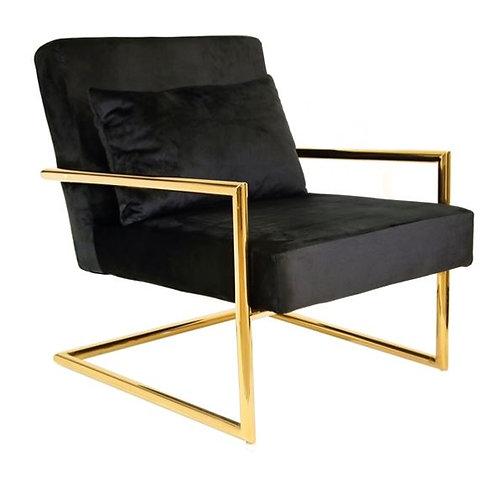 Black Velveteen Arm Chair