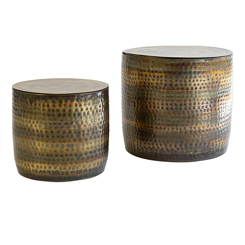 Hammered Copper and Brass Storage Tables
