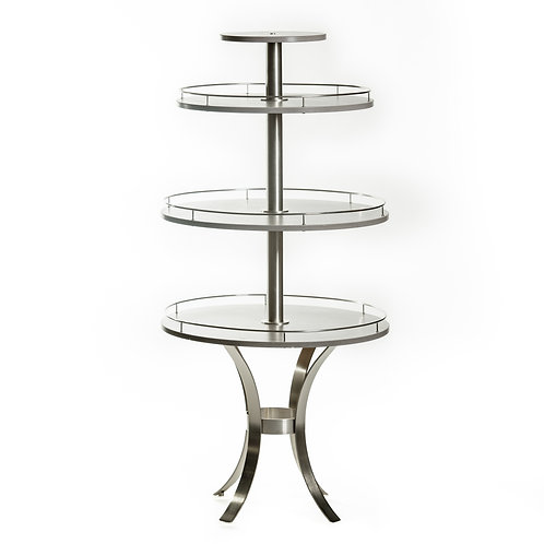 grey and silver display table