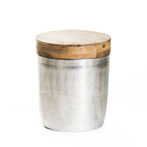 silver metal/ wood side table