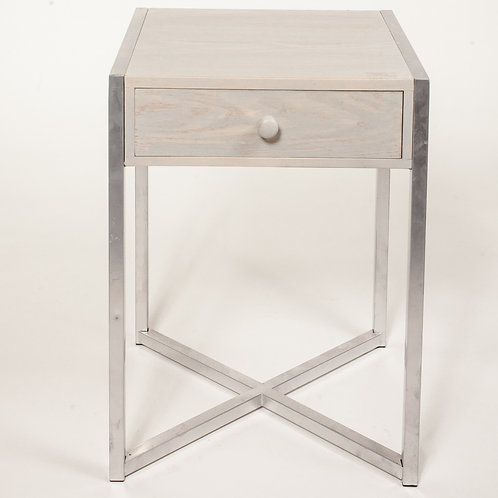 White Wash and Silver Side Table