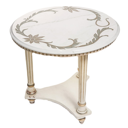 White Marble and Gold Side Table