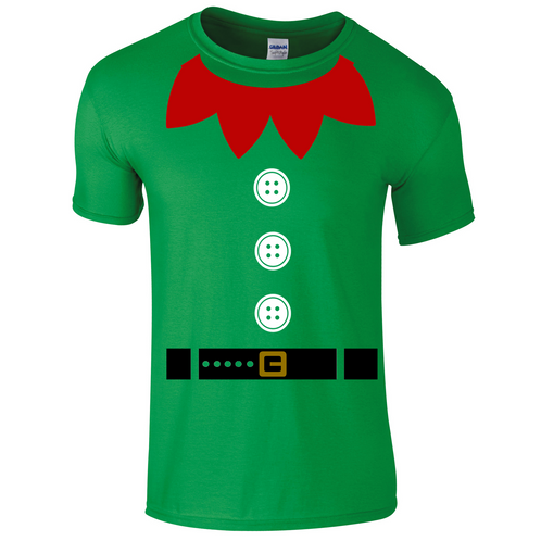 051640966 Christmas Elf Fancy Dress T-Shirt for Children, One of Santa's Little  Helpers this Christmas.