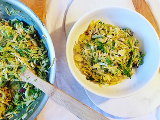 Bacon Dijon Shaved Brussels Sprouts