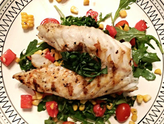 Grilled Grouper with a Watermelon, Tomato and Grilled Corn Salad