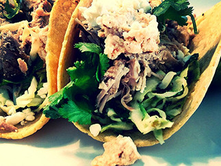 Pulled Pork Tacos with a Cilantro Jalapeno Slaw and  Chipotle Sour Cream