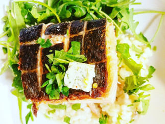 Butter and Herb Poached Salmon with a Parmesan, Truffle Oil Risotto