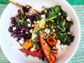 Oven Roasted Sweet Potato, Black Bean and Kale Bowl with Goat Cheese and Pepitas