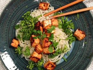 Crispy Marinated Tofu with Broccolini and Shirataki Noodles