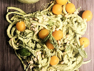Raw Zucchini Noodles with Avocado Pesto and Golden Tomatoes