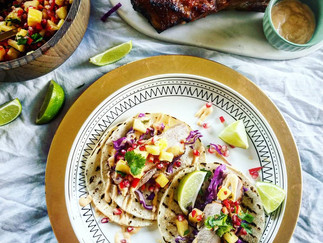 Pork Belly Tacos with Sriracha Mayonnaise and Pomegranate Pineapple Pico de Gallo