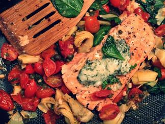 Mediterranean Salmon with an Herb Compound Butter