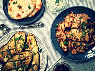 "Chicken ""Shawarma"" with Roasted Eggplant and Tzatziki"