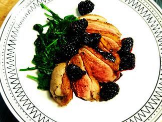 Herb Brined Roast Duck Breast with Blackberry Peppercorn Chutney