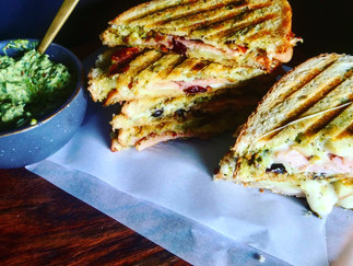 Pesto, Smoked Gouda and Apple Paninis
