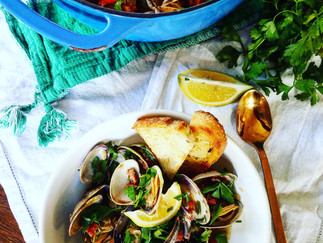 Manila Clams with Portuguese Sausage and Toast Points
