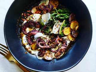 Braised Octopus with Creamy Polenta and Charred Vegetables