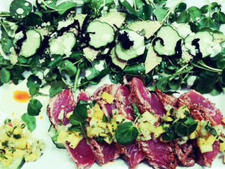 Sesame Seared Ahi with Mango Pickled Cucumber Salsa and Avocado Watercress Salad