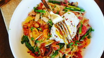 Fresh Veggie Capellini with Pancetta and a Poached Egg