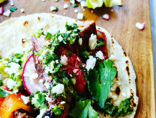 Steak and Roasted Red Pepper Tacos with Chimichurri and Guacamole