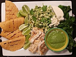 Halibut Tacos with Cilantro Lime Slaw and Tomatillo Avocado Salsa
