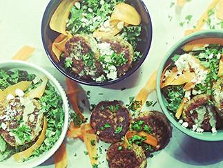 Falafel Kale Salad with Tahini Dressing