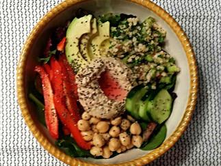 Nourishing Tabouli, Hummus and Vegetable Salad