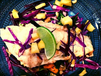 Grilled Grouper with a Pineapple Slaw