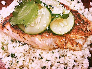 """Blakened Red Snapper with Cauliflower """"Rice"""" and Asian Cucumber"""