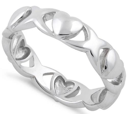 Sterling Silver Eternity Hearts